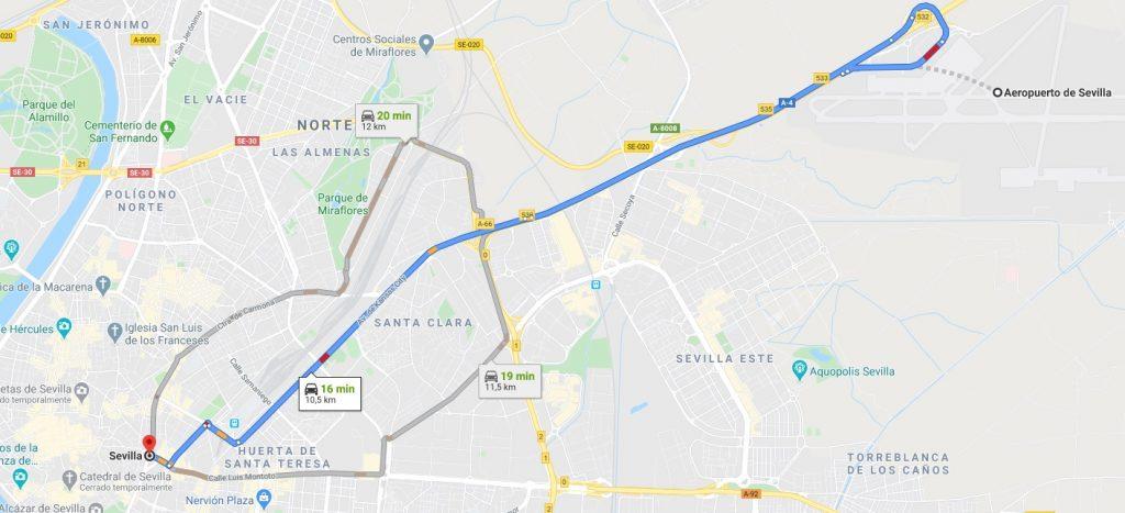 Trayecto aeropuerto a Sevilla